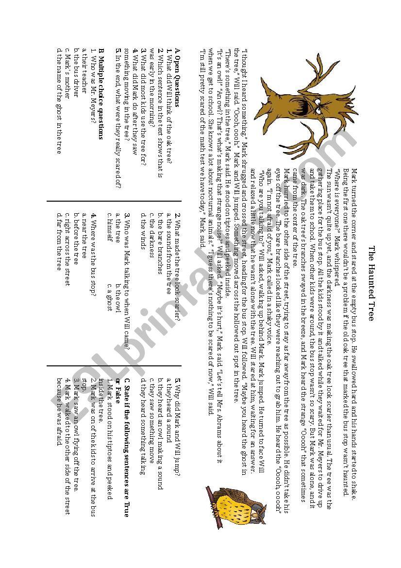 The Haunted tree - ESL worksheet by nancym