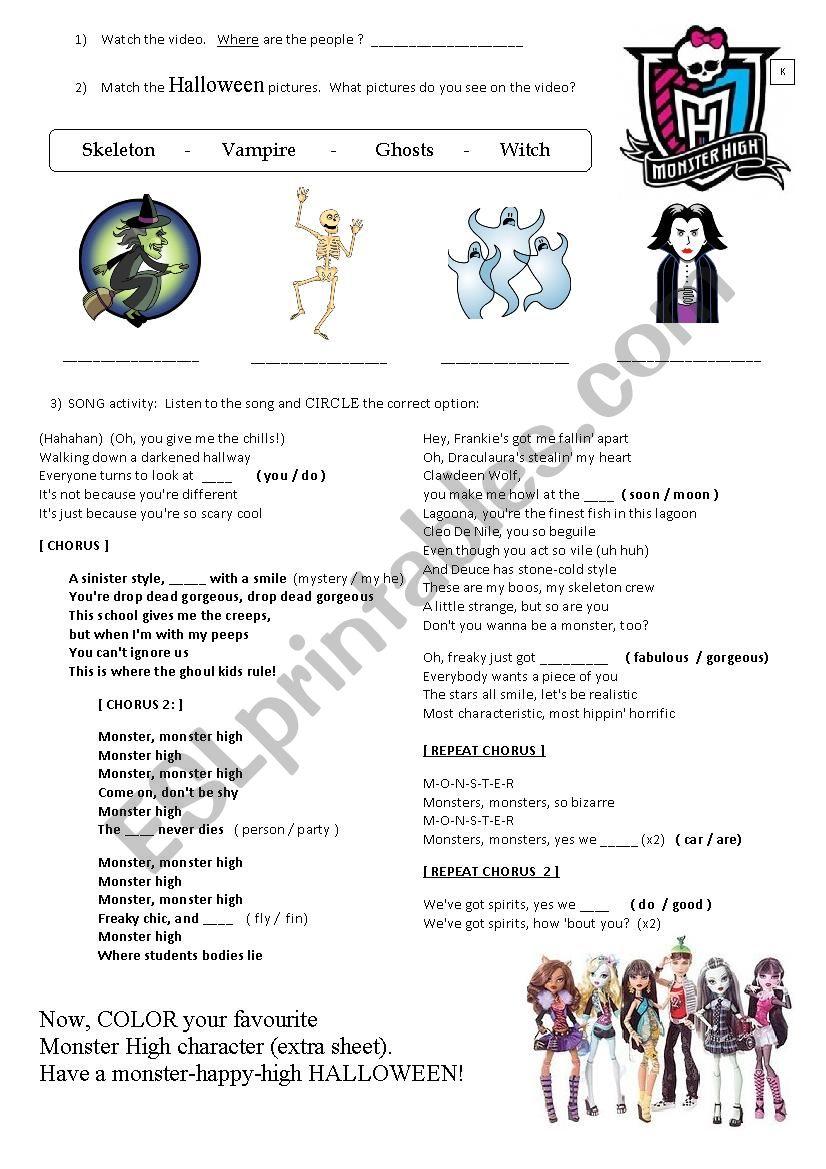 Monster High - ESL worksheet by cris rose