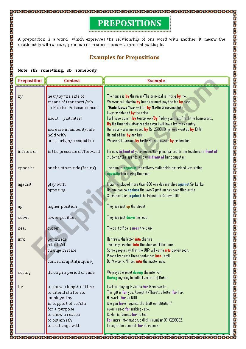 Prepositions   -      Sheet  - 02