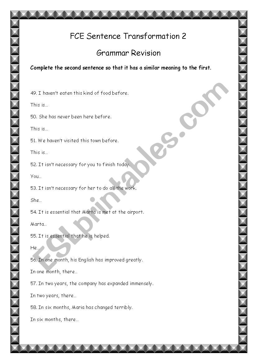 Sentence Transformation 2 worksheet