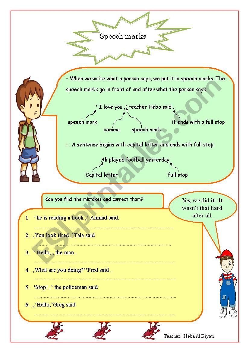 speech marks + punctuation worksheet