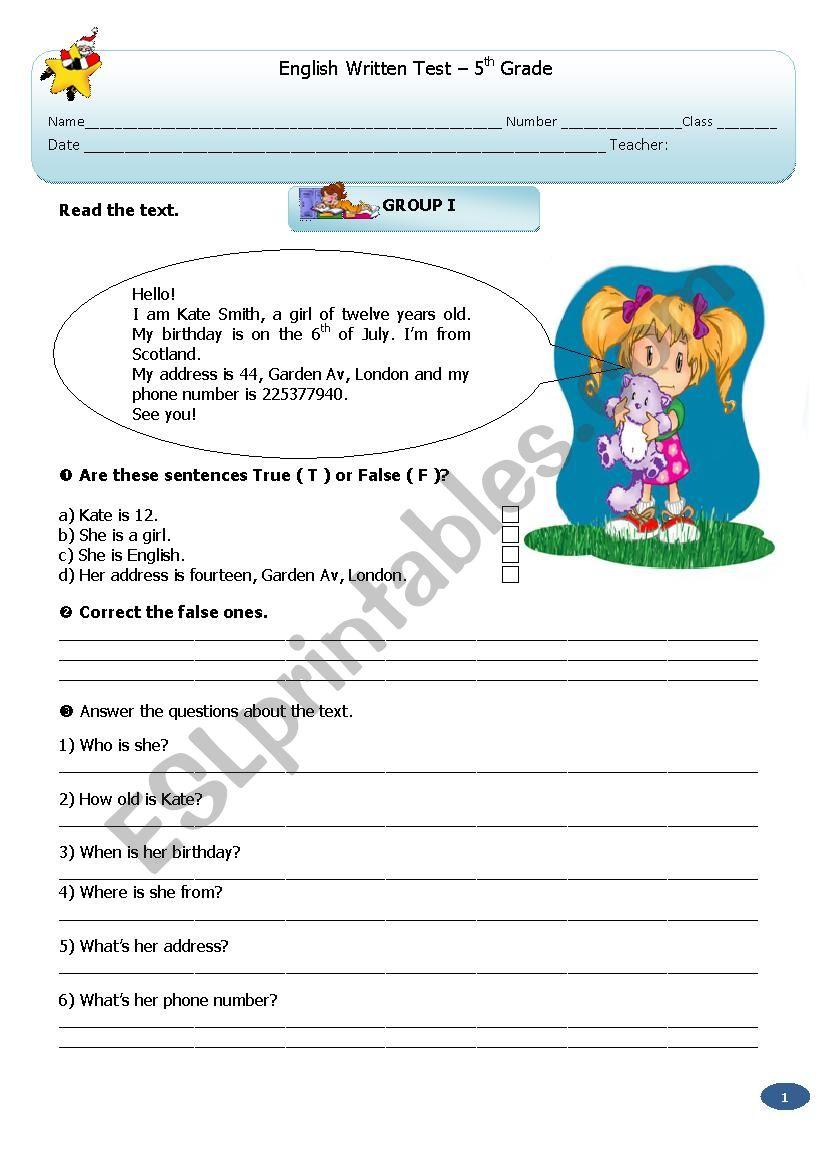Test:   5th  Grade worksheet
