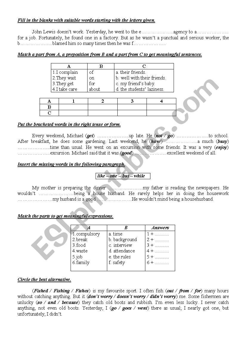 9th form worksheet 16 worksheet