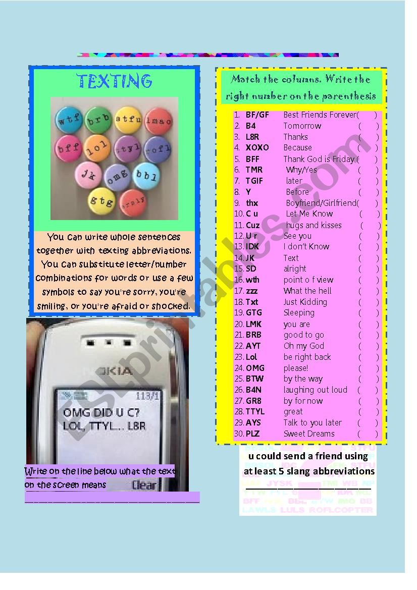 Slang abbreviations for texting, facebook and twitter- ANSWER KEY