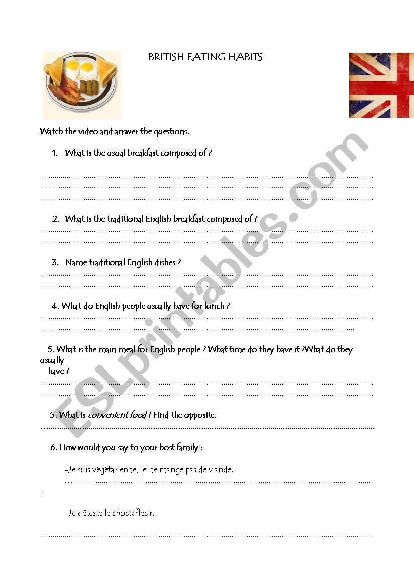 BRITISH FOOD worksheet