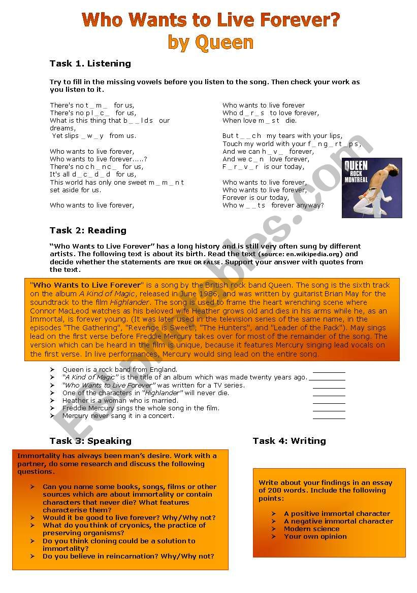 Who Wants to Live Forever? worksheet