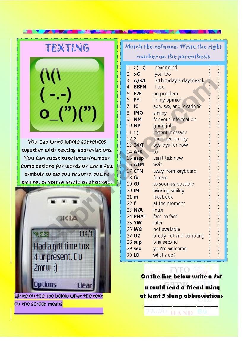 Slang abbreviations for texting, facebook and twitter part 2- ANSWER KEY
