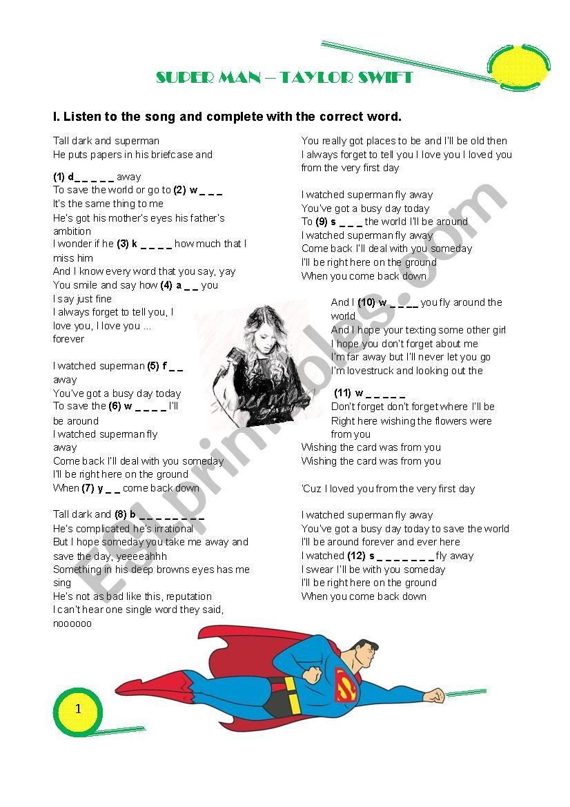 Superman Taylor Swift Esl Worksheet By Gamhebat
