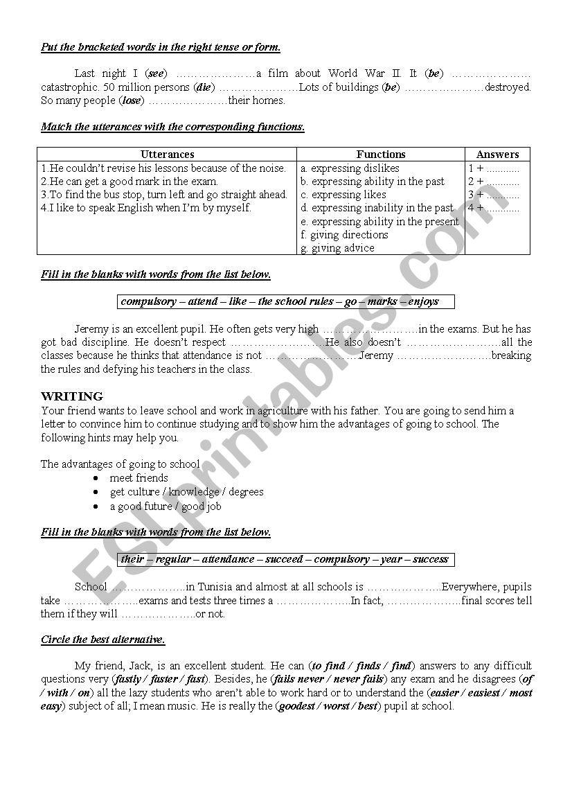 9th form worksheet 17 worksheet