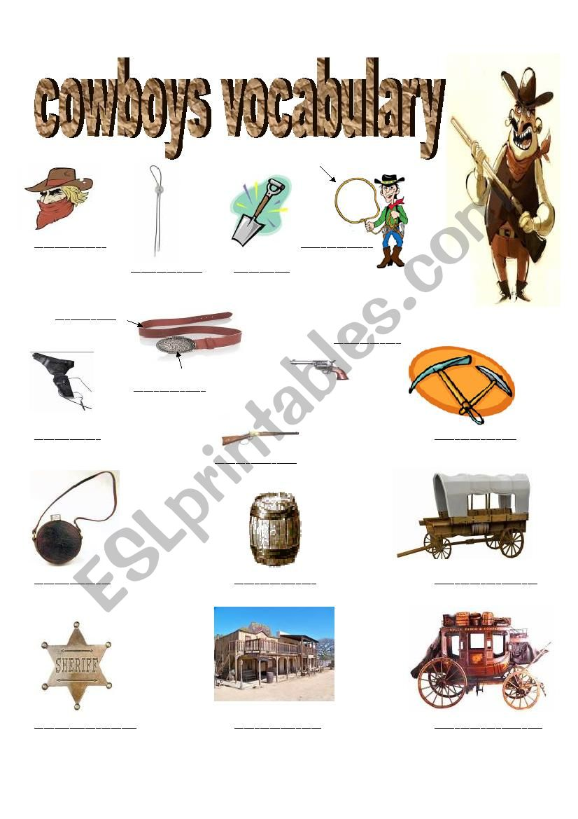 COWBOYS VOCABULARY worksheet