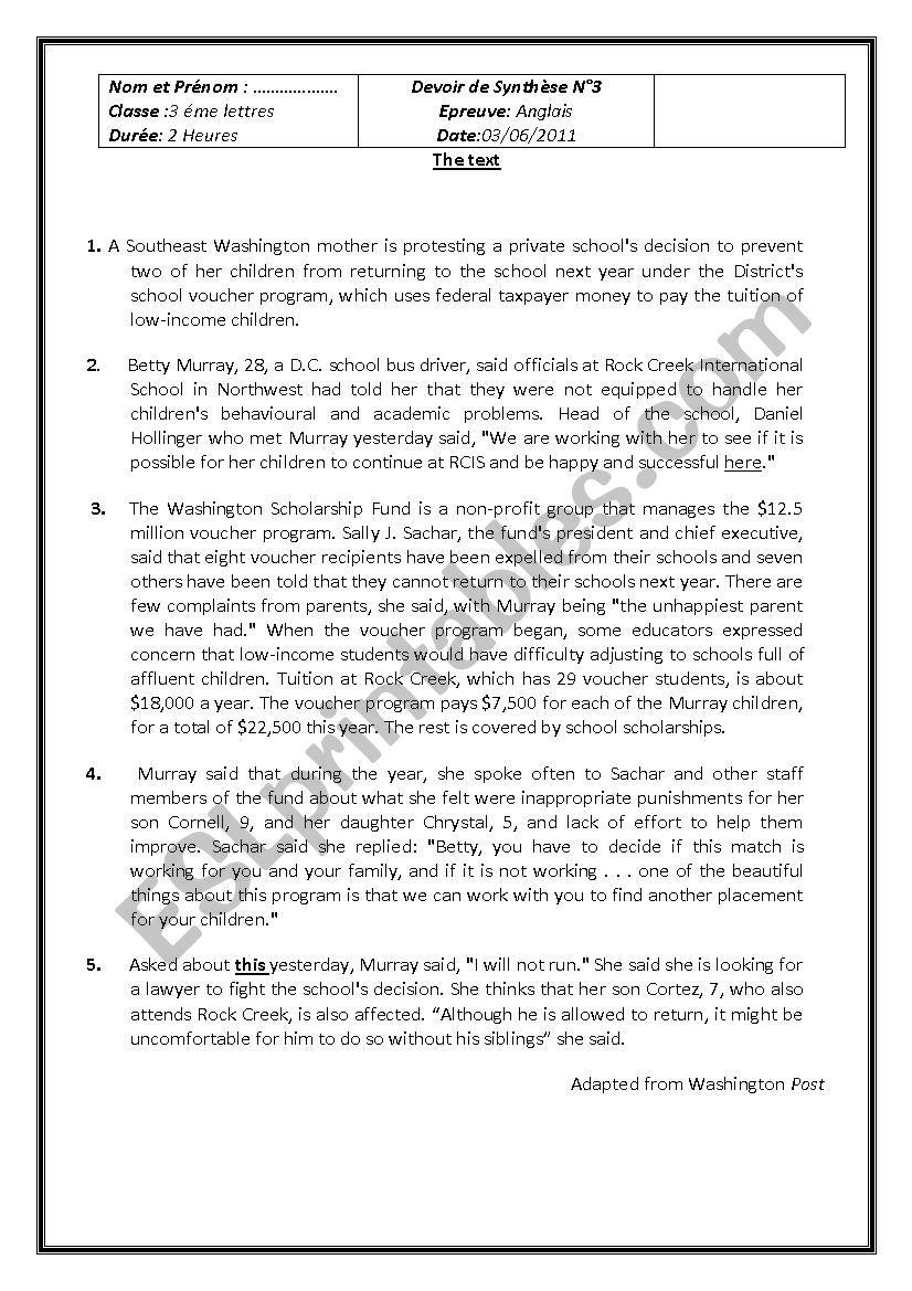 Third term English test worksheet