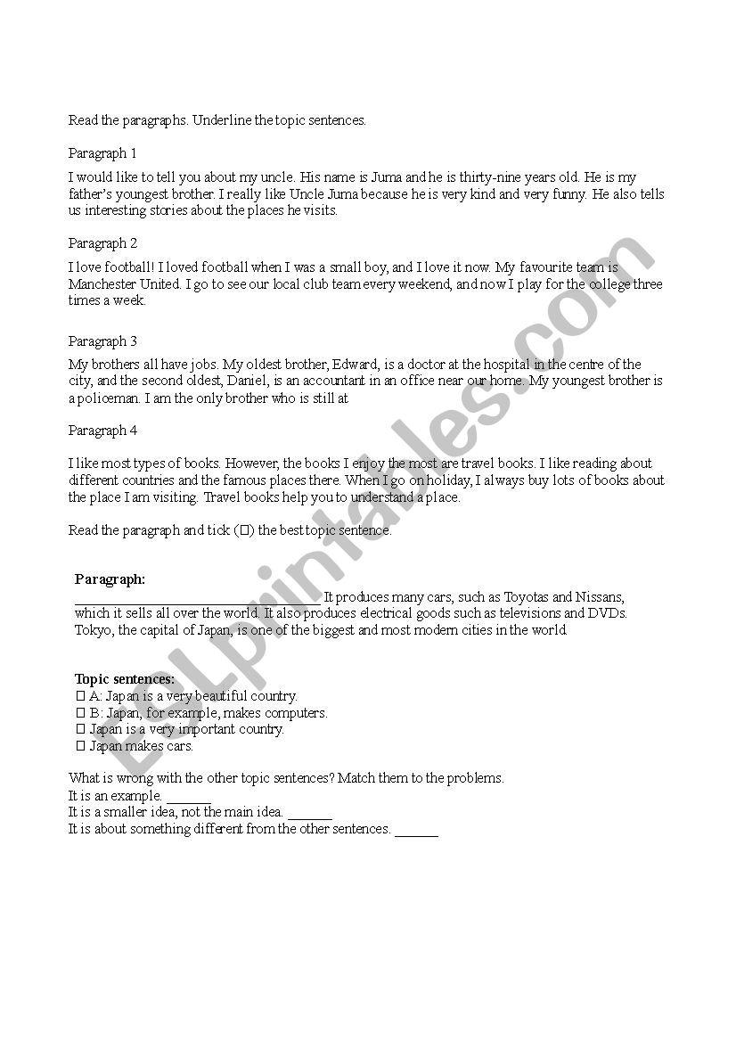 Topic Sentences Practice Worksheet Esl Worksheet By