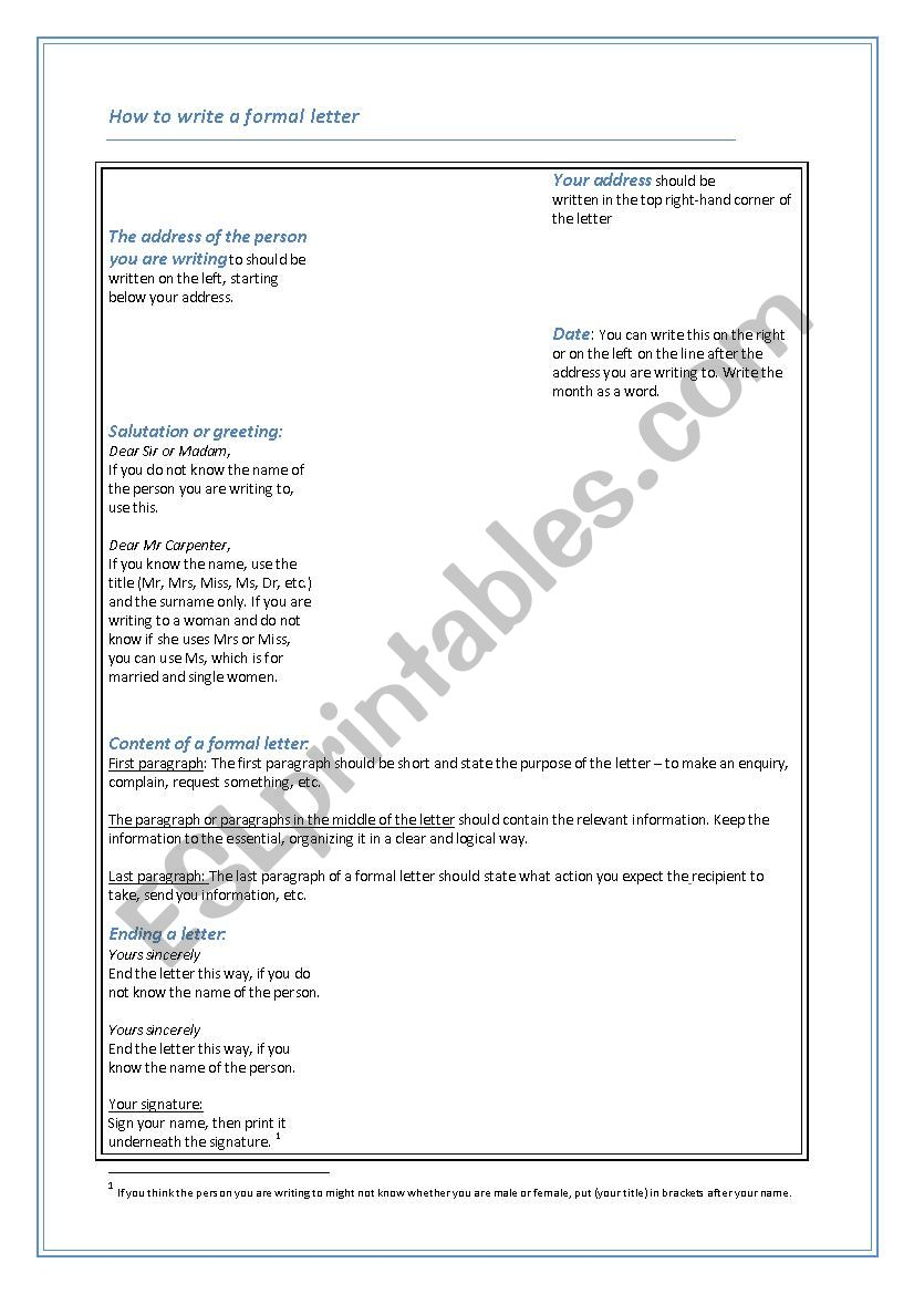 How to write a formal letter worksheet