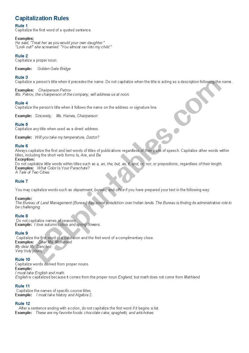 capitalization rules worksheet