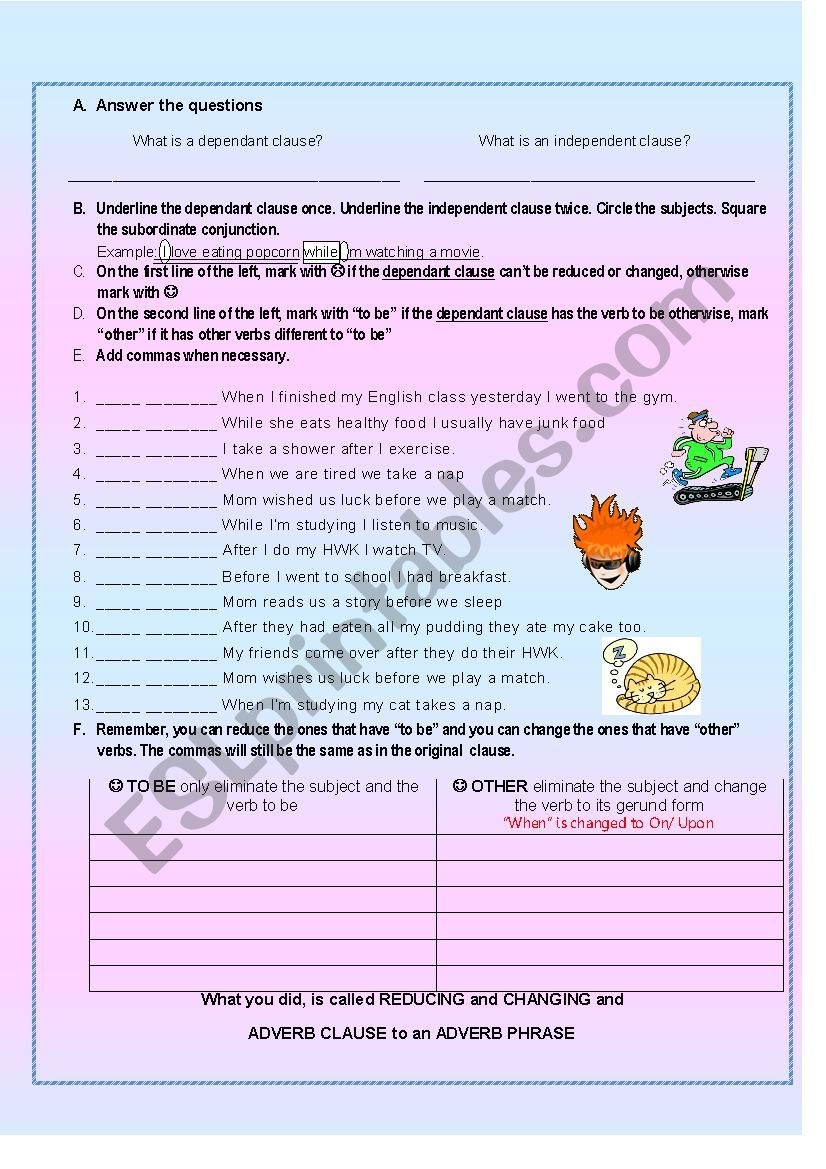 Changing and Reducing Adverb clauses of time to Adverb Phrases PART 1 -Partial answer key