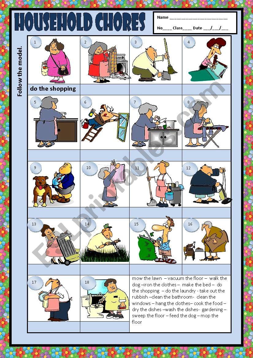 HOUSEHOLD CHORES + KEY worksheet