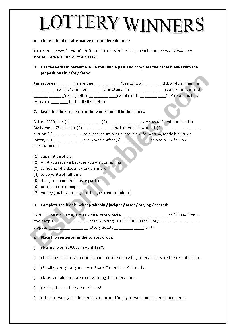 LOTTERY WINNERS worksheet