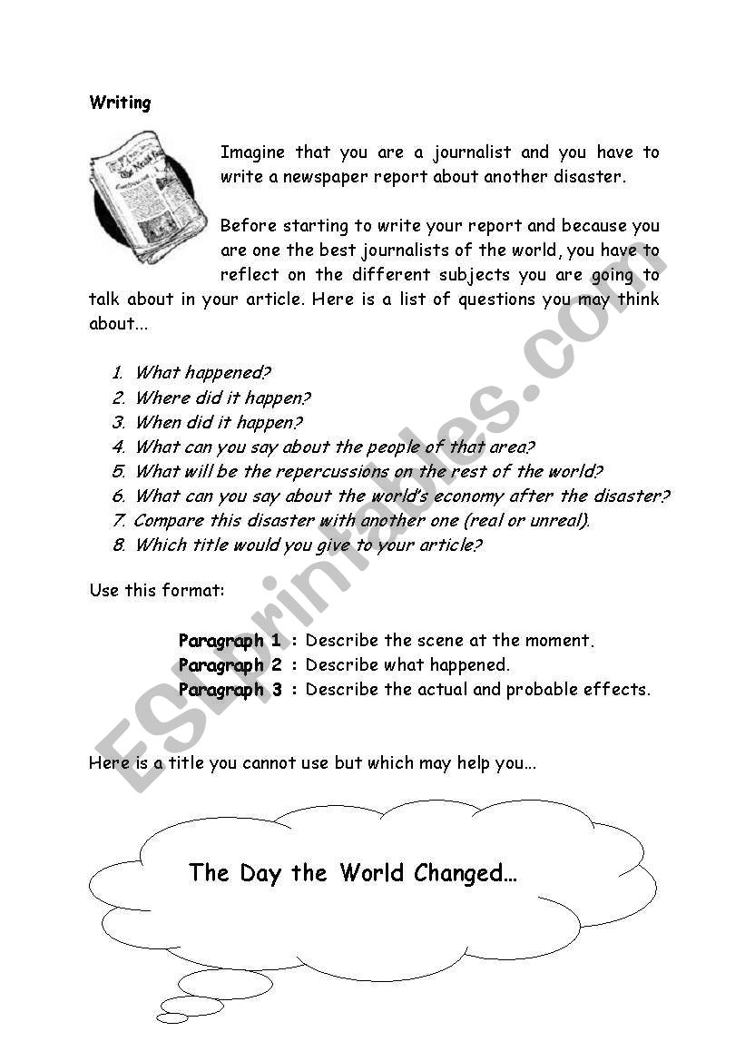 writing about a disaster - ESL worksheet by nicolasdimarco