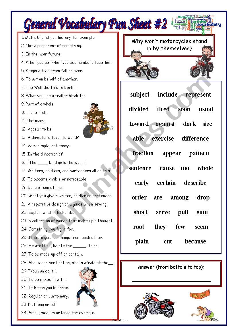 General Vocabulary Fun Sheet #2
