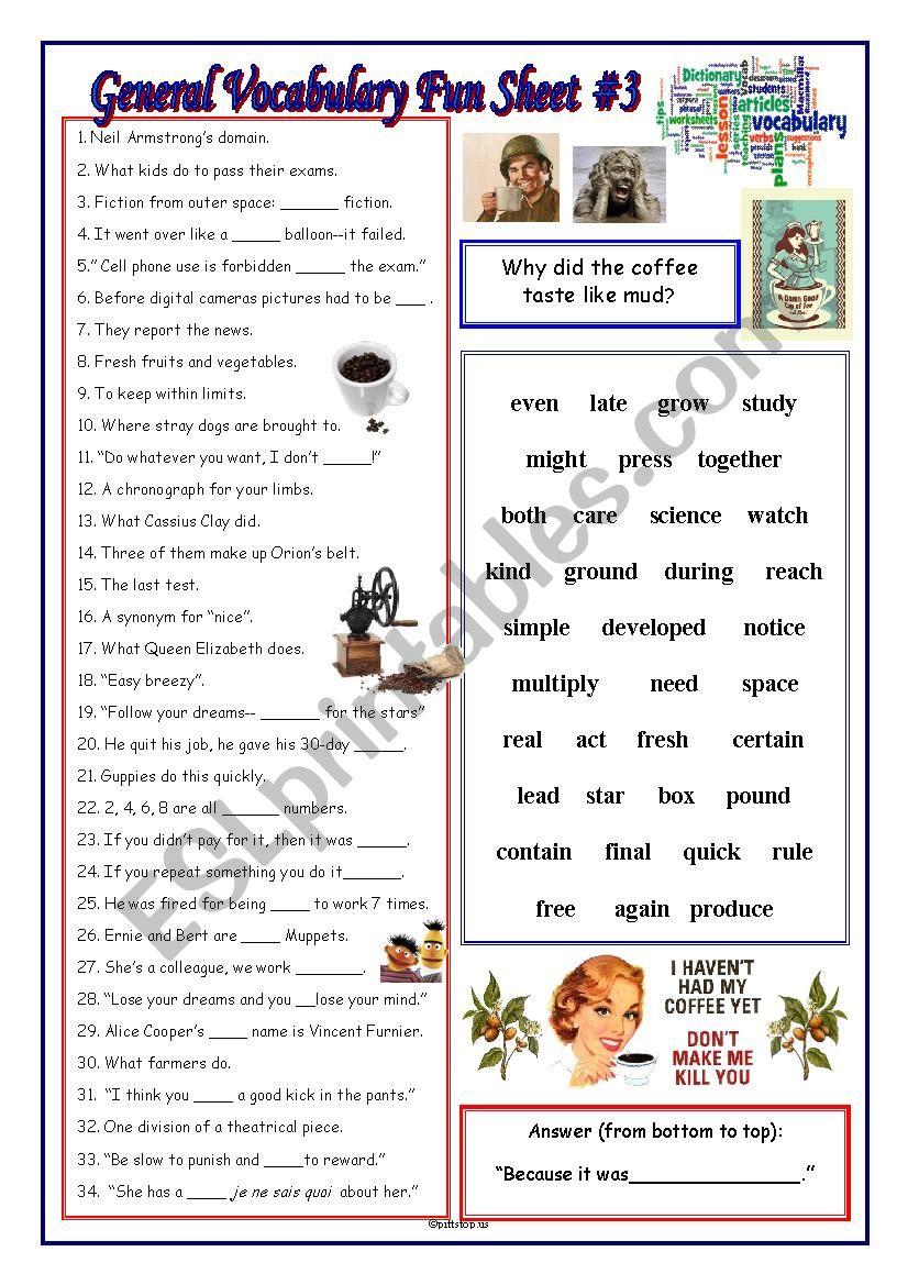 General Vocabulary Fun Sheet #3