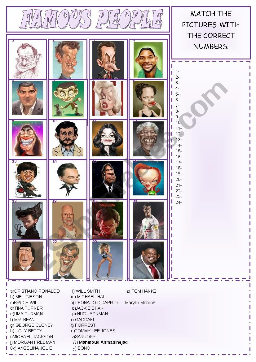 FAMOUS PEOPLE - ICE BREAKER worksheet