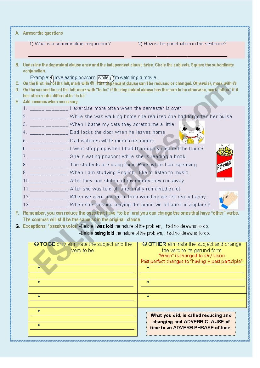 Changing and Reducing Adverb clauses of time to Adverb Phrases PART 2 -Partial answer key