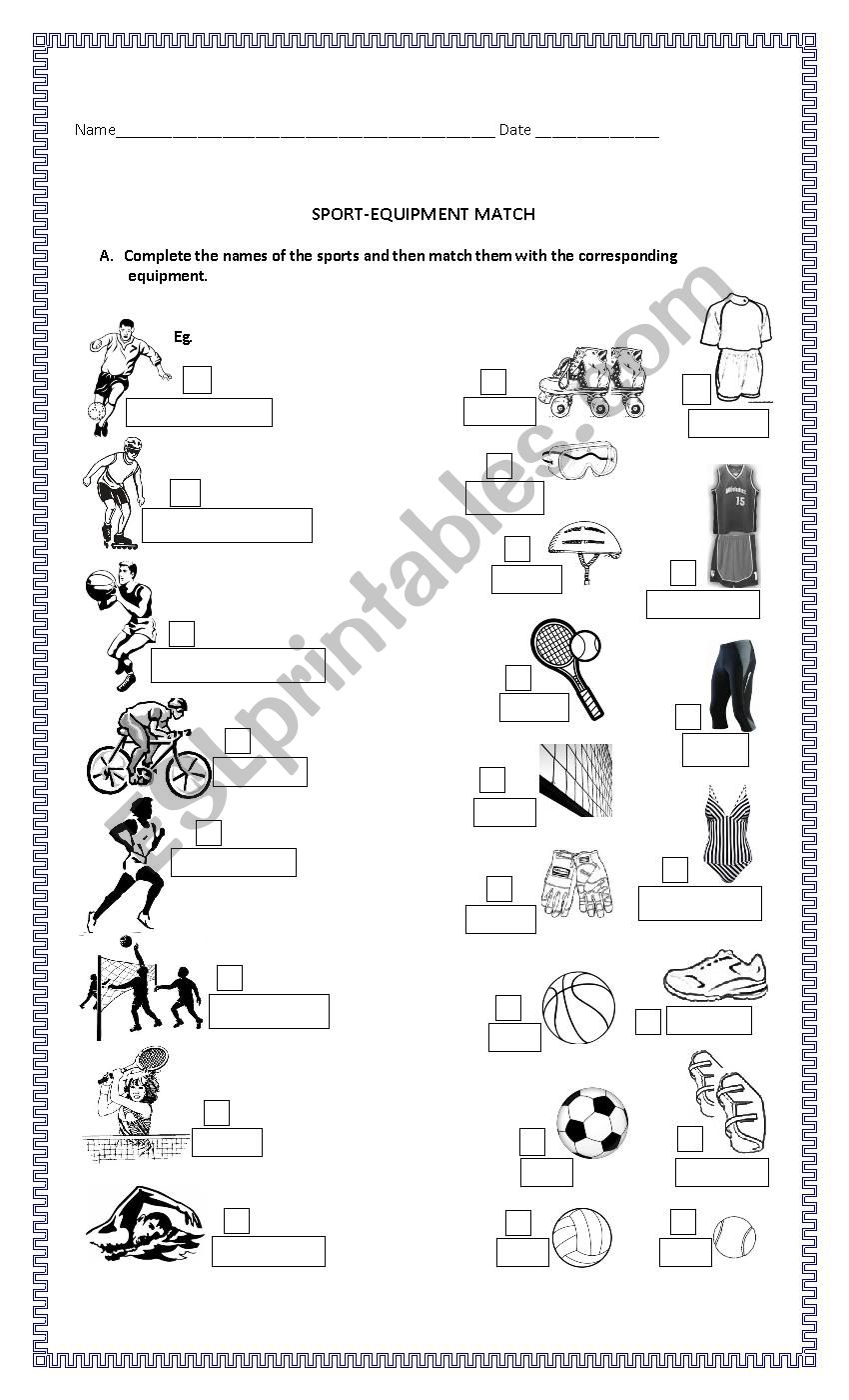 Sports and equipment worksheet
