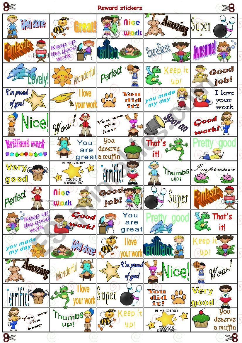 Reward stickers worksheet