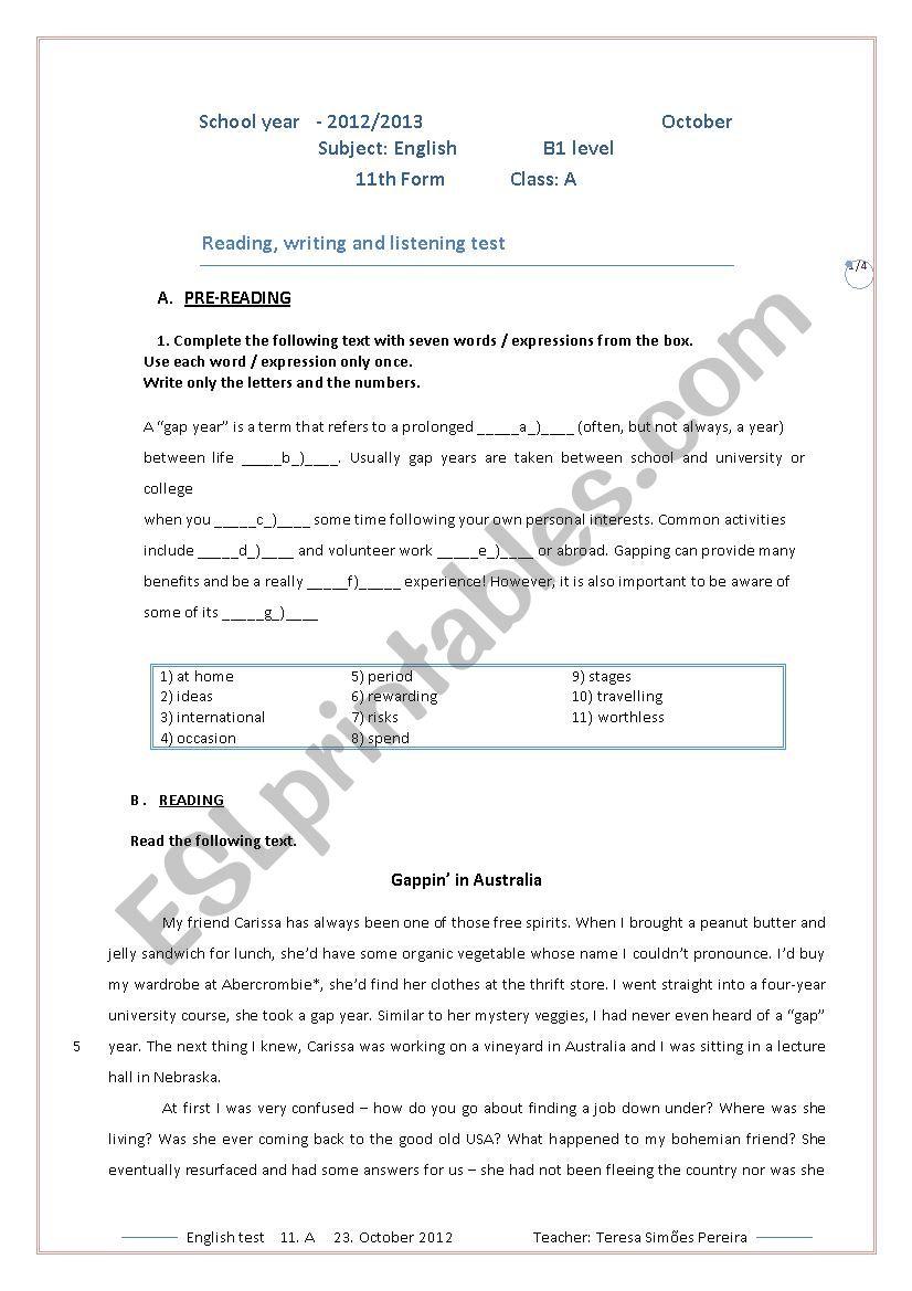 English test 11th form worksheet