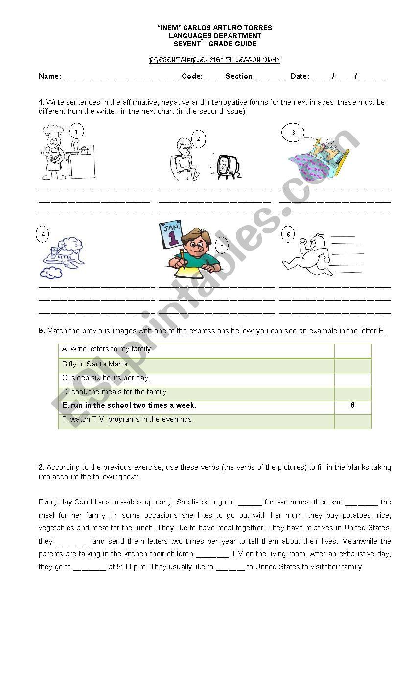 Present simple- Workshop worksheet