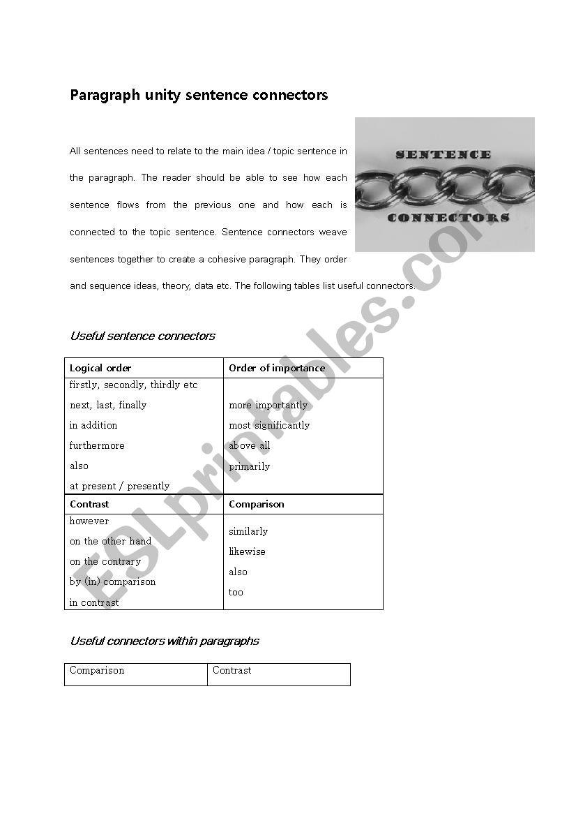 English Worksheets Paragraph Unity Sentence Connectors
