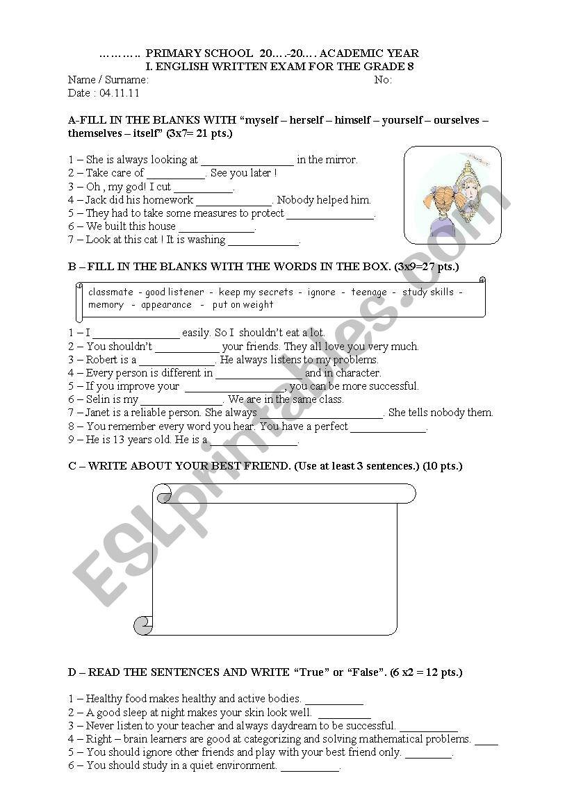 8th grade 1st exam 1st term worksheet