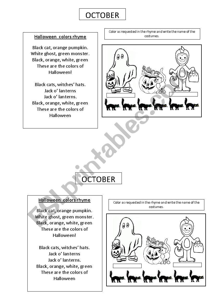 HALLOWEEN POEM AND ACTIVITY worksheet