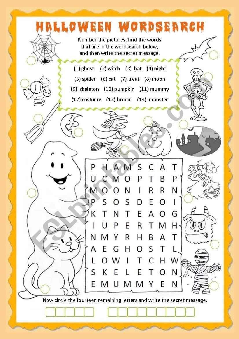 Halloween Wordsearch - ESL worksheet by chiaretta