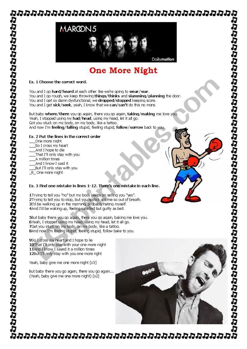 One More Night by Maroon 5 worksheet
