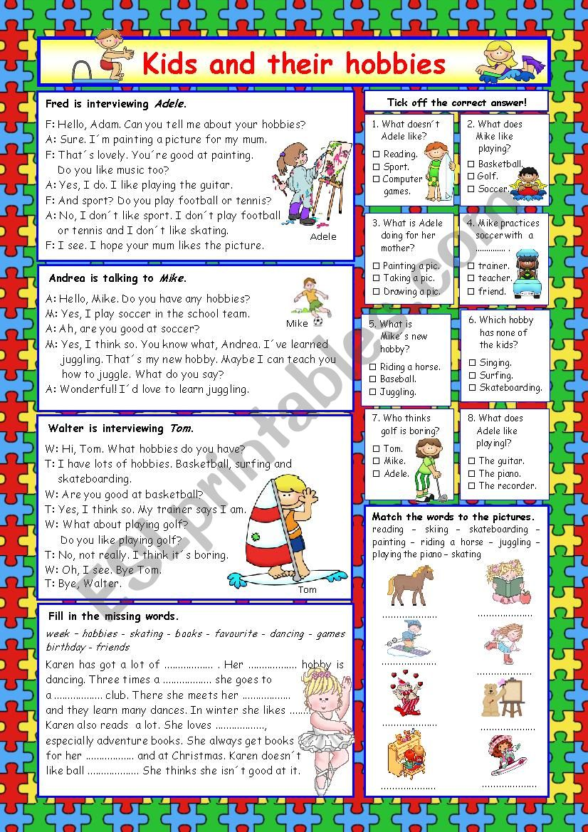 Kids and their hobbies (+Key) worksheet