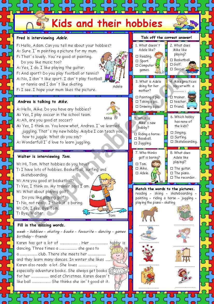 Kids and their hobbies (+Key) worksheet