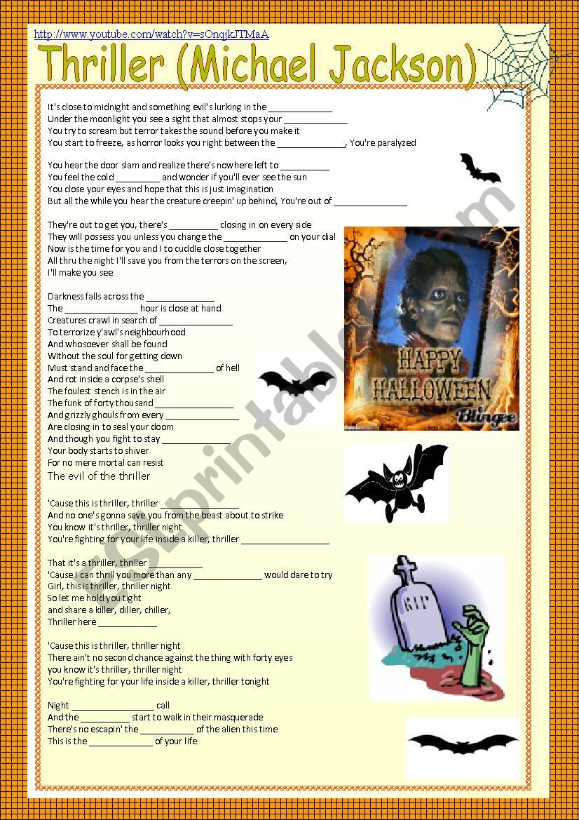 song Thriller Michel Jackson worksheet