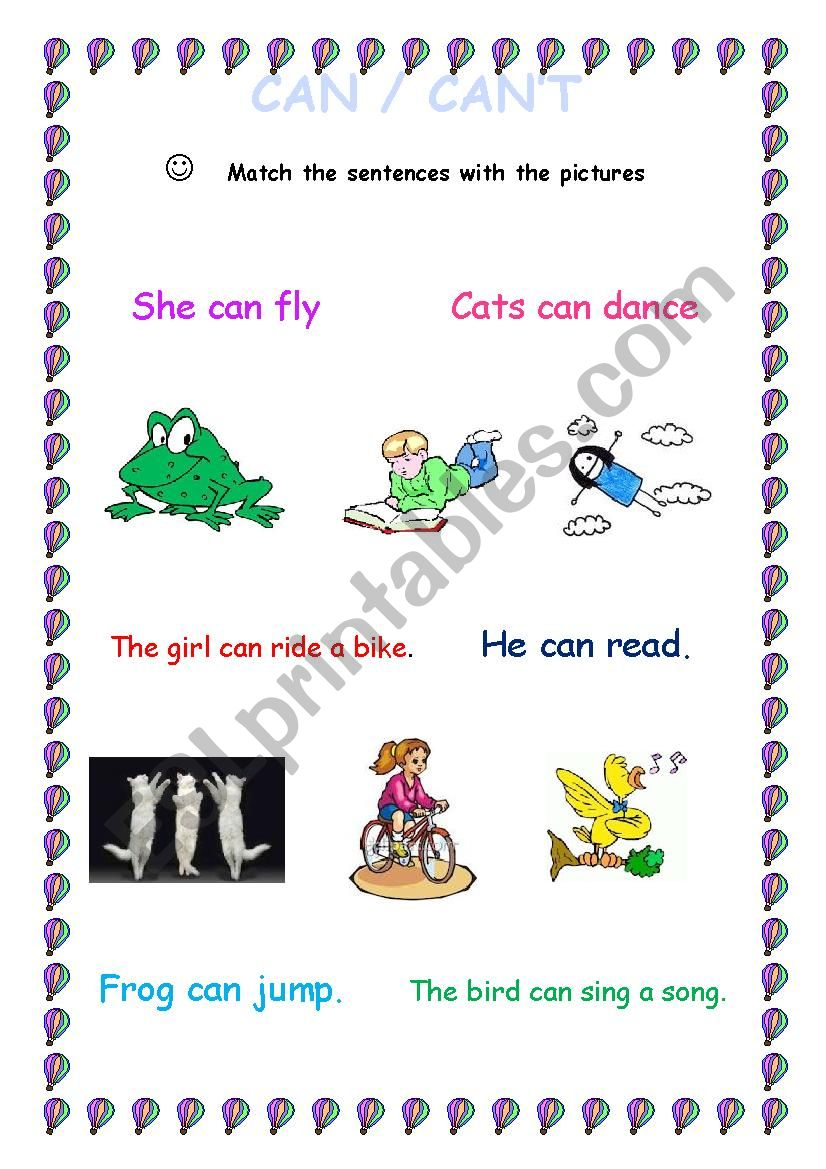 Can / Can´t worksheet
