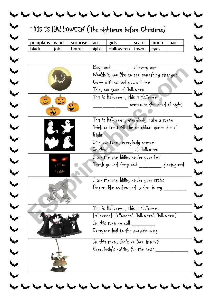 English worksheets: This is Halloween (Song: The nightmare before ...