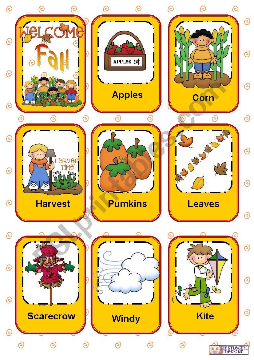 Seasons Flashcards - Part 1 - Fall / Autumn
