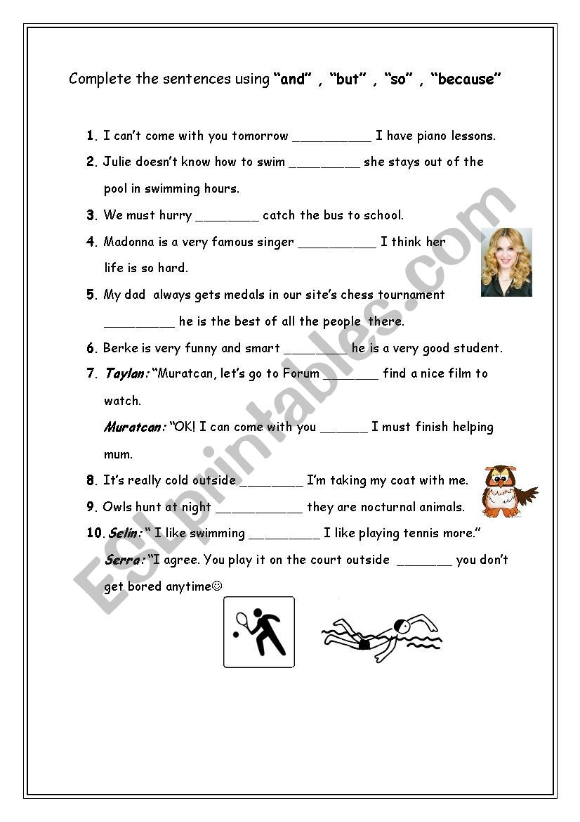 and,but,so,because exercises - ESL worksheet by teacherellaG