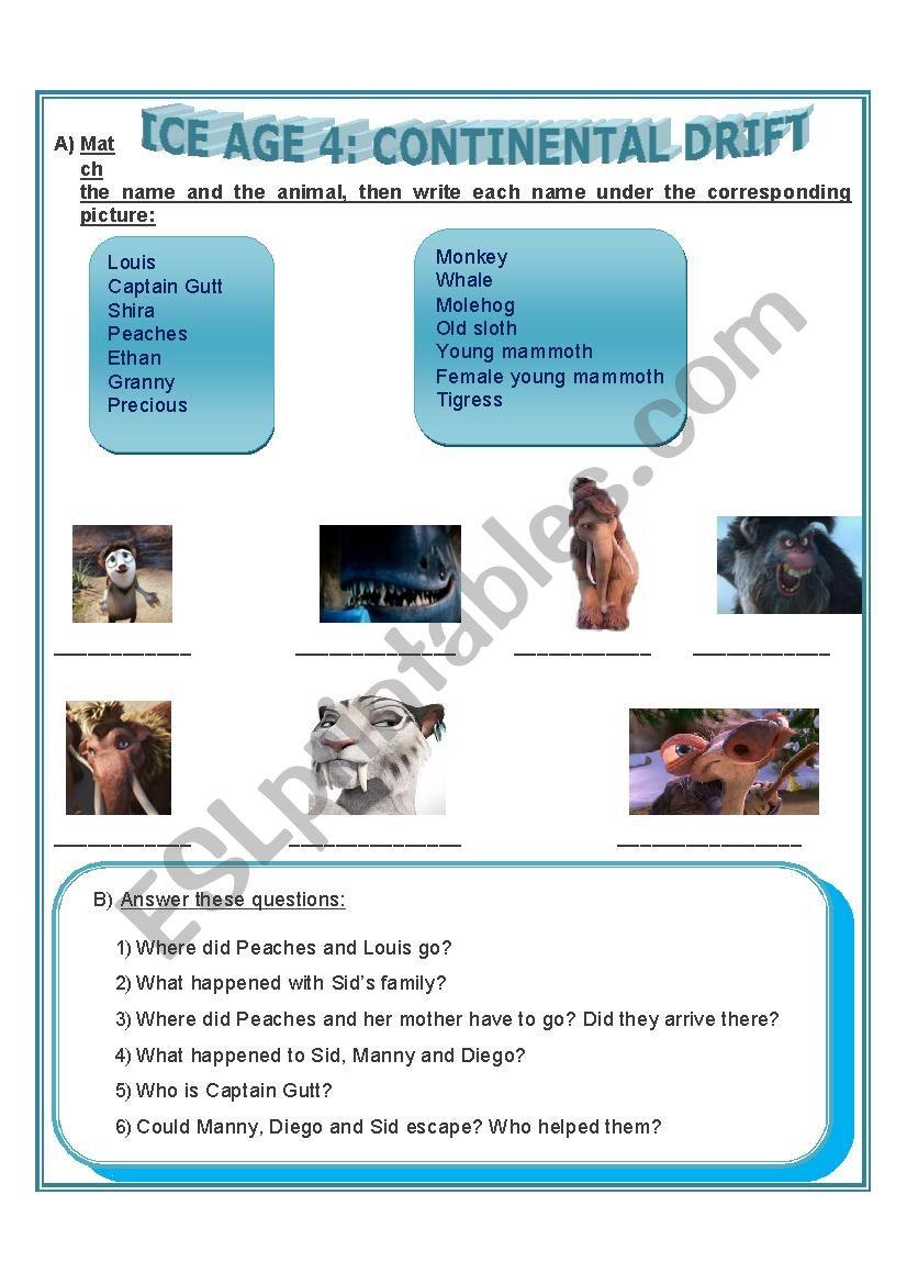 ICE AGE 4 - ESL worksheet by mariambarnech