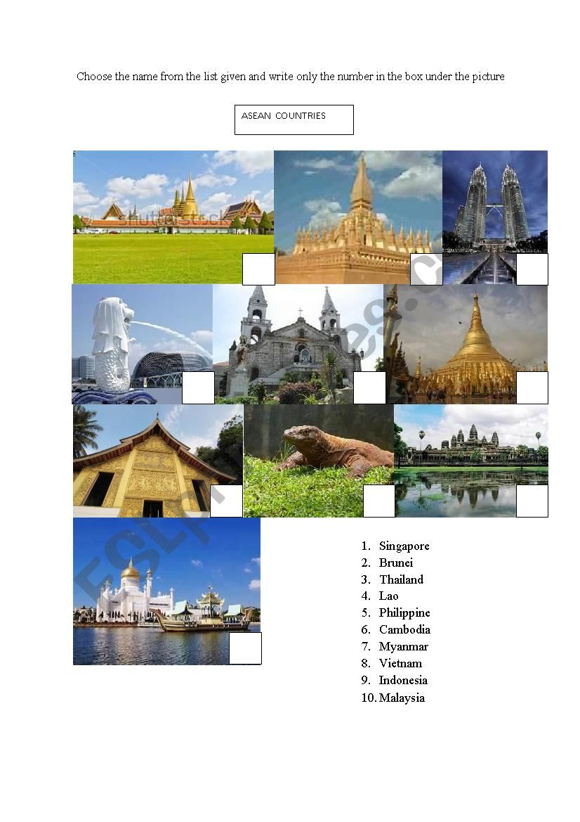 asean country worksheet