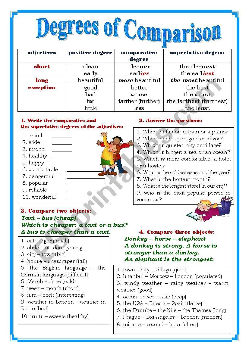 Degrees of Comparison   ESL worksheet by yuliya888