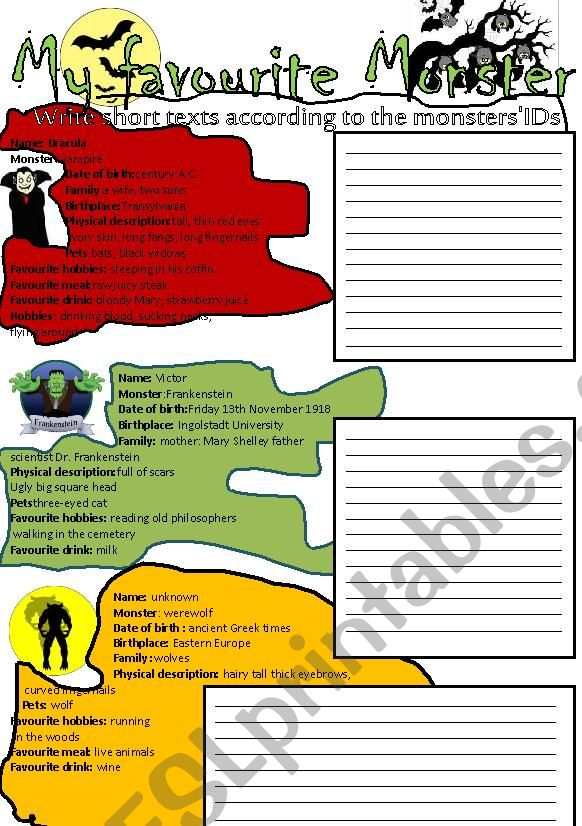 Monsters writing activity worksheet