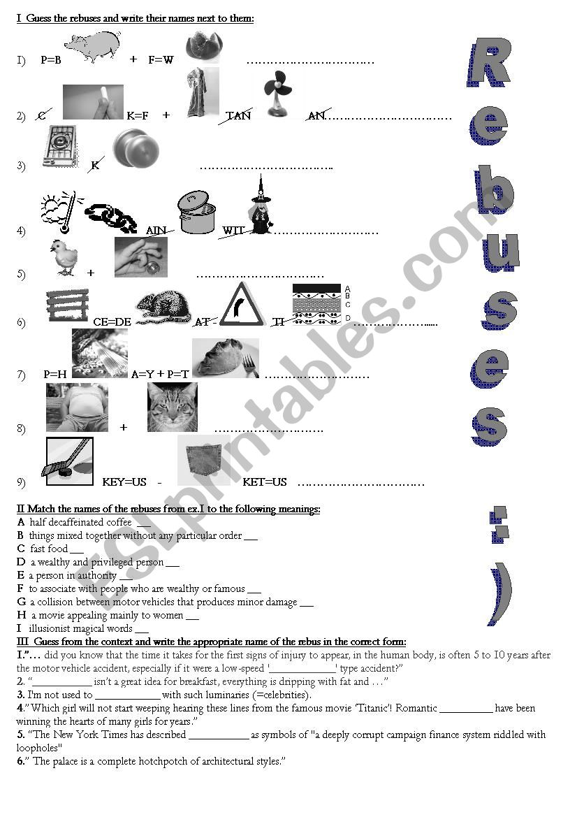 Rebuses for older /adult learners + 3 exercises + KEY