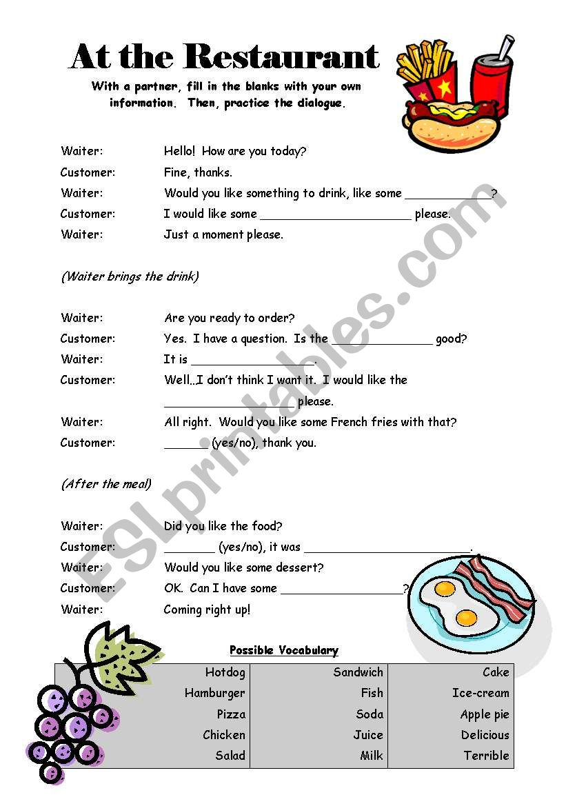 At the Restaurant - Dialogue worksheet
