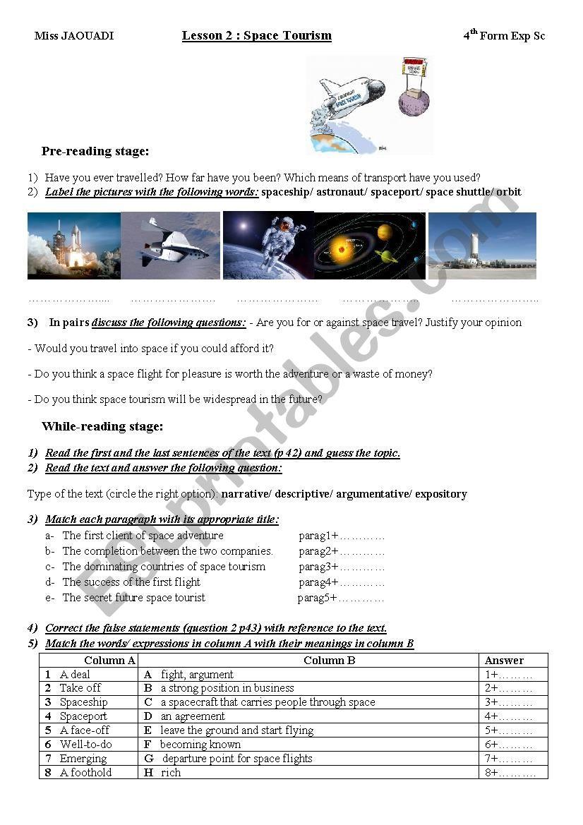 Lesson 2: Space Tourism 4th Form