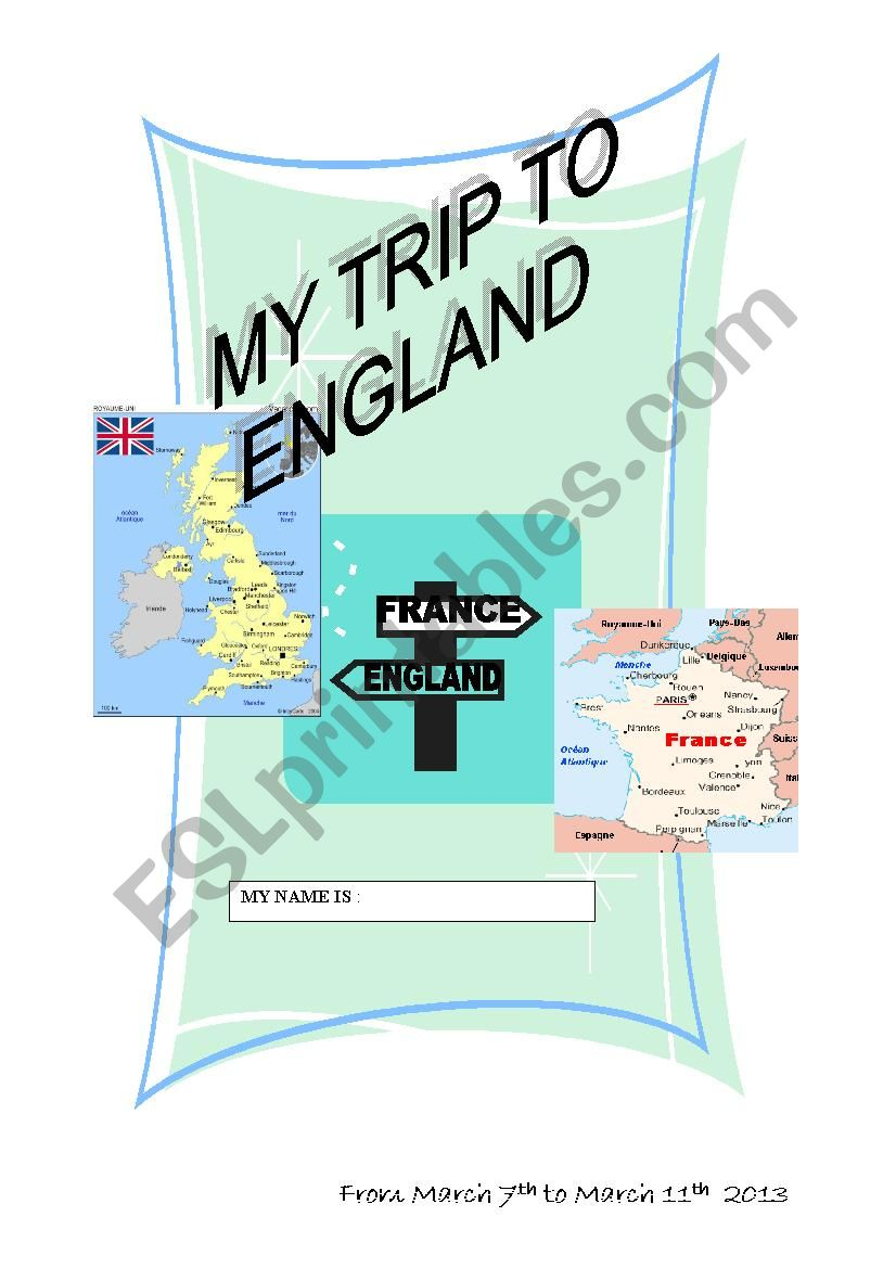 my trip to england road book first page
